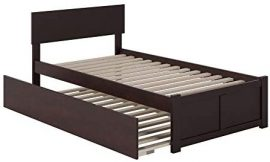 Atlantic Furniture Orlando Platform Bed with Flat Panel Footboard and Twin Size Urban Trundle, Espresso