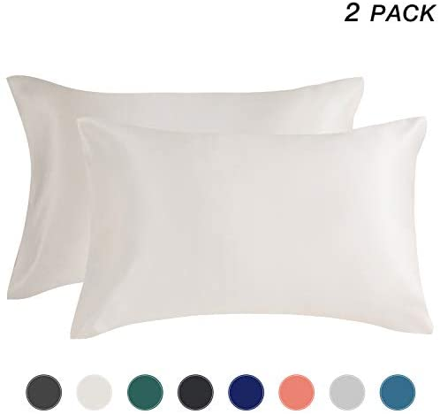 EXQ Home Satin Pillowcase for Hair and Skin, Ivory White Soft Cooling Pillow Cases Queen Size Set of 2 with Envelope Closure (20×30 Inches)