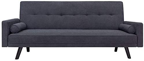JUMMICO Mid-Century Futon Sofa Bed Couch Modern Fabric Bench Seat Convertible Reclining Sofa with 2 Cushion for Living Room and Office, 80 inch Length(Drak Grey)