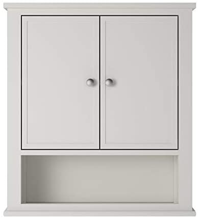 Ameriwood Home SystemBuild Franklin Bathroom Wall Cabinet, Over The Toilet Space Saver Storage, Kitchen Cabinet in Soft White