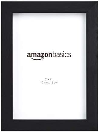 AmazonBasics Photo Picture Frame – 5″ x 7″, Black – Pack of 2