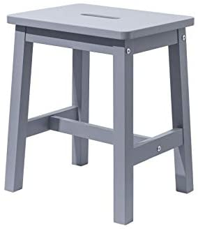 HOUCHICS Wooden Solid Stool Counter Height Chairs,Modern Gray Barstool for Indoor Furniture Kitchen Dining Pub and Bistro(17″ Gray)