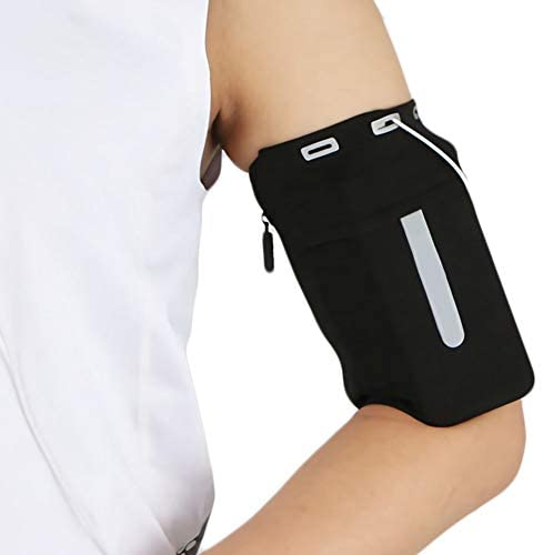 YUNYILAN Phone Armband for Running Elastic Anti-Theft Arm Bag Outdoor Sports Armband Fitness, Yoga, Cycling and Hiking Reflective Armband Cell Phone Case Fits All Phones (Black, L)