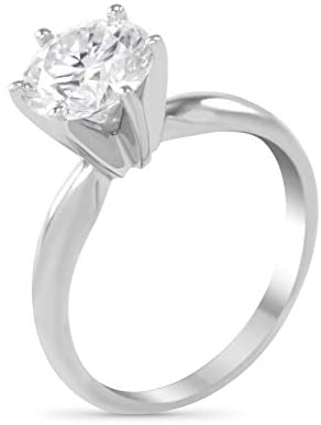 Art of Fine 2.0CT 14K White Gold Six Prong Round Solitaire Colorless Forever One (DEF) VVS1 8.00mm Moissanite Ring