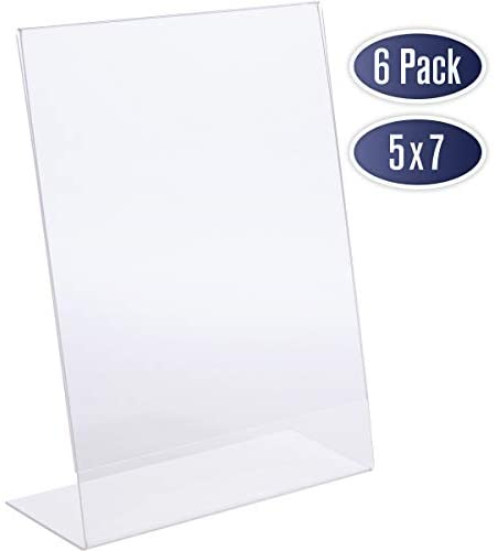 Slant Back Acrylic Sign Holder 5×7 – Clear Picture Frame Stand, 5 x 7 Inches Photo Frames Display for Sign, Menu, Document, Picture, Flyer, and More. Slant Ad Photo Frame Display Holders (6 Pack)