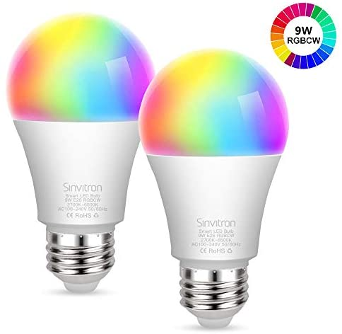 Sinvitron Led Wifi Smart Light Bulb E26 9W, Work with Amazon Alexa, Echo, Google Home and IFTTT, No Hub Required, 900lm, A19 85W Equivalent, RGBCW Multi-color Changing – 2 Pack