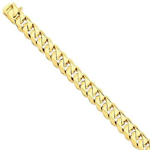 Mia Diamonds 14k Solid Yellow Gold 14mm Han-Polished Traditional Link Bracelet or Anklet -9″ (9in x 14mm)