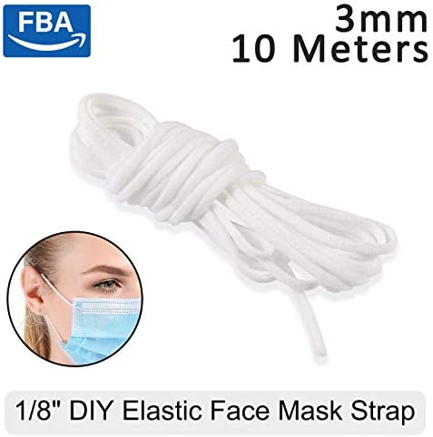 White Elastic Cord Earloop for face mask – Elastic Loop Ear Rope Stretch Flat String Craft Project Bracelet String Trim for Crafting,Hanging, Mask Making 10m (10.93 Yard)