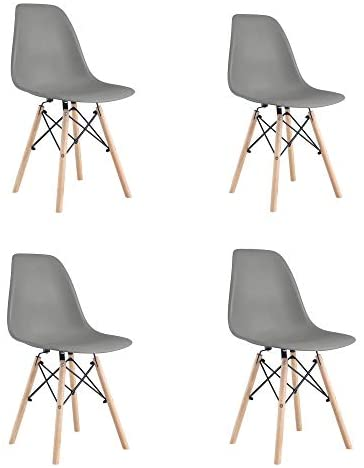 SSLine Dining Chairs Set of 4,Mid Century Modern Kitchen Chair Set with Figured Plastic Main-Body and Wood Legs,Shell Lounge Plastic Side Chair for Kitchen, Dining, Bedroom, Living Room,Coffee Room