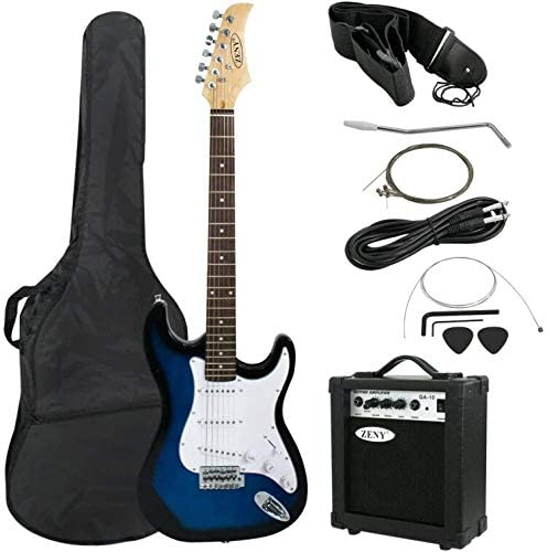 ZENY 39″ Full Size Electric Guitar with Amp, Case and Accessories Pack Beginner Starter Package, Blue Ideal Christmas Thanksgiving Holiday Gift