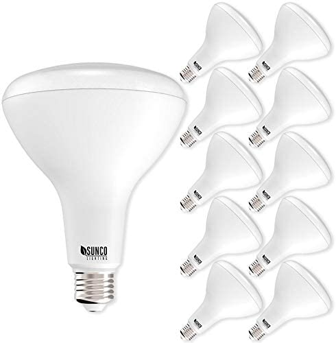 Sunco Lighting 10 Pack BR40 LED Bulb, 17W=100W, Dimmable, 5000K Daylight, 1400 LM, E26 Base, Indoor Flood Light for Cans – UL & Energy Star
