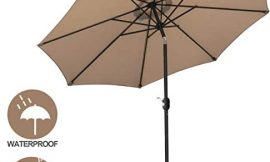 SUPER DEAL 9.1FT Patio Umbrella with 8 Sturdy Ribs – Outdoor Table Umbrella with Push Button Tilt & Crank Lift System – Perfect for Patio, Garden, Yard, Deck, Poolside