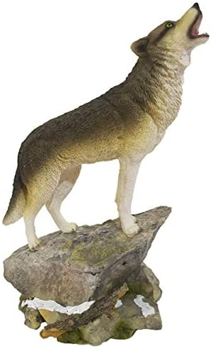 HOMERRY Howling Wolf Figurine on a Rock Grey Wolf Figure for Decorative Lodge and Rustic Cabin Decor Statues and Figurines & Wildlife Animal, Wolf Sculpture or Timberwolves Collectible Art Gifts