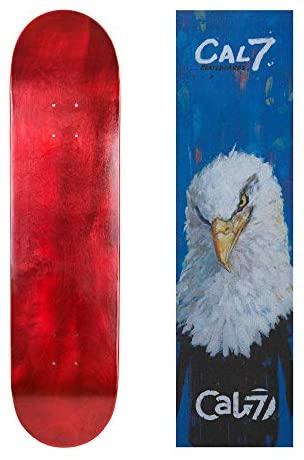 Cal 7 Red Skateboard Deck with Graphic Grip Tape | 7.75, 8, 8.25, and 8.5 Inch | Maple Board for Skating