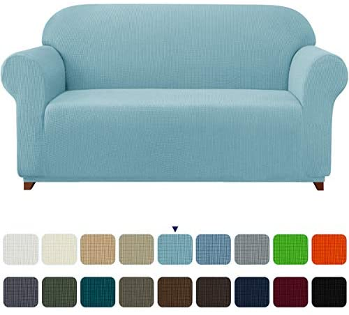 subrtex Stretch Sofa Cover 1-Piece Couch Slipcover Furniture Protector for Arm Chair Loveseat Coat Soft with Elastic Bottom, Polyester and Spandex Jacquard Fabric Small Checks (Large, Steel Blue)