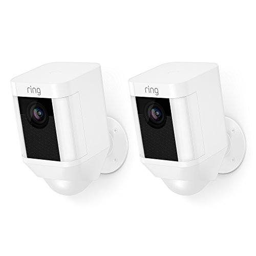 Ring Spotlight Cam Battery HD Security Camera with Built Two-Way Talk and a Siren Alarm, White, Works with Alexa – 2-Pack
