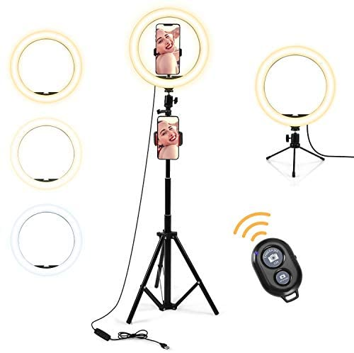 10″ Selfie Ring Light,with Tripod Stand and Phone Holder,Dimmable Led Ring Light for Live Stream/Makeup/YouTube Video/Camera Photography,Beauty Fill Ring Light Compatible for Phone iPhone Android