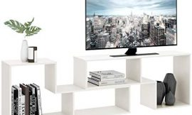 DEVAISE TV Console Stand, Modern Entertainment Center Media Stand, TV Table Storage Bookcase Shelf for Living Room, 0.59″ Thick, White