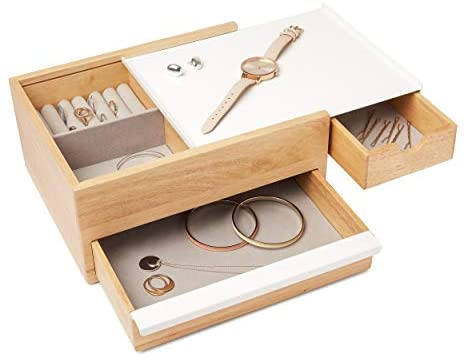 Umbra Stowit Jewelry Box – Modern Keepsake Storage Organizer with Hidden Compartment Drawers for Ring, Bracelet, Watch, Necklace, Earrings, and Accessories (White / Natural)