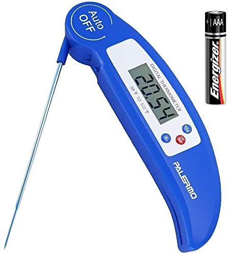 Instant Read Digital Meat Thermometer – Ultra Fast Electronic BBQ and Kitchen Food Thermometer with long probe for Cooking, Grill, Smoker, Candy – Battery Included