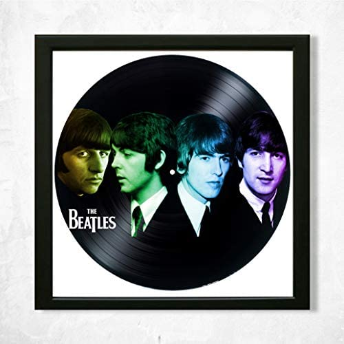 SofiClock The Beatles Framed Decor Vinyl 13.8×13.8 – Unique Wall Art Decor Th Beatles Music Band – Best Gifts for Music Lover – Original Wall Home Decor