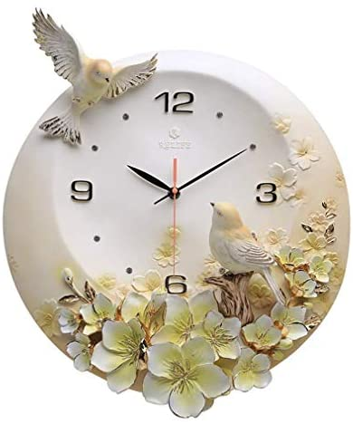 FACAI Wall Clocks for Living Room, Embossed Wall Clock Three Dimensional 3D Round Idyllic Rustic Carved Ultra Quiet Resin for Living Room Decor