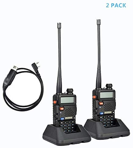 2Pack Baofeng UV-5R Dual-Band 136-174/400-480 MHz Ham Two-Way Radio + Programming USB Cable