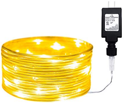 Yogoo 33ft Outdoor Led Rope Lights String with 100 LEDs Waterproof Decoration Starry Fairy Lights Plug in for Bedroom, Home, Garden, Patio Decor (33FT, Warm White)