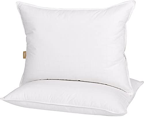 puredown Luxury White Down Feather Sleeping 100% Cotton Fabric 300 Thread Count Bed Pillows, Standard