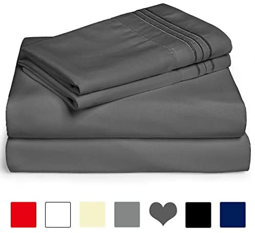 EDILLY Queen Bed Sheet Set 4 Piece Super Soft Cotton 600 Thread Count Luxury Egyptian Sheets 14-Inch Deep Pocket Wrinkle and Hypoallergenic (Queen, Darkgrey)
