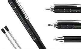 Useful Gadgets Business Gift for men, 5 in 1 Black tool pen with Ruler, Level gauge, Ballpoint Pen, Stylus and 2 Screw Drivers, Multifunction Tool Pen Fit for Engineers and Technicians in Gift Box