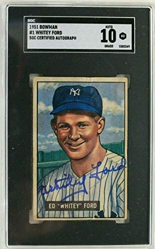 Whitey Ford Yankees 1951#1 Autograph Signed Rookie Card SGC 10 – Baseball Slabbed Autographed Cards
