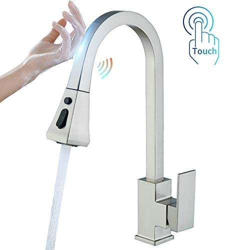 OWOFAN Touch Kitchen Faucets with Pull Down Sprayer, Kitchen Sink Faucet with Pull Out Sprayer, Single Hole Deck Mount, Single Handle Copper Kitchen Faucet, Brushed Nickel 1029SN
