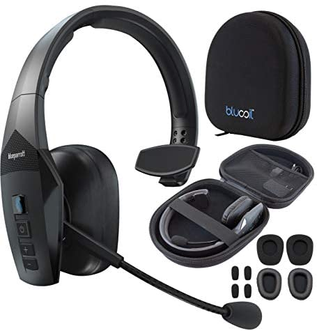 BlueParrott B550-XT Noise Canceling Bluetooth Headset with 300-FT Wireless Range for iOS, Android, Windows, and Mac Bundle with Blucoil Headphones Carrying Case, and Replacement Ear Pads
