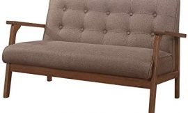 PUG258Y Mid Century Sofa, Loveseat Sofa Sets, Modern Couch with Solid Wood Armrest Upholstered Wooden 2-Seat Couch for Living Room, Studio, Office Furniture – Brown