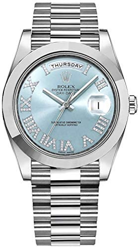 Men's Rolex Day-Date Platinum 41mm Watch with Diamond Roman Numeral Hour Markers – Ref # 218206
