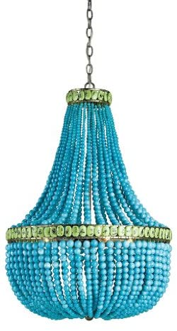 Currey and Company 9770 Hedy – Four Light Chandelier, Pyrite Bronze/Turquoise/Jade Finish