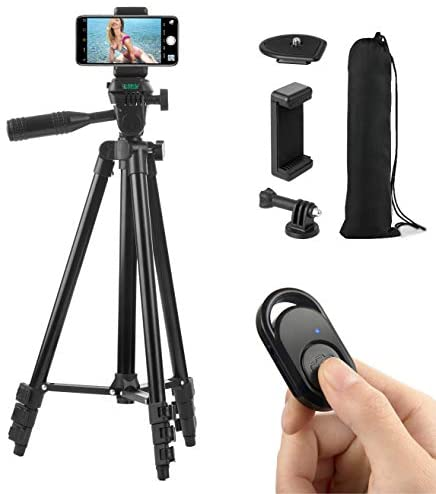 Polarduck Phone Tripod, Tripod for iPhone 51 Inch 130cm Lightweight Tripod Stand for iPhone/Samsung/Huawei Cell Phone, Camera and Gopro with Bluetooth Remote Control, Phone Holder and Gopro Mount