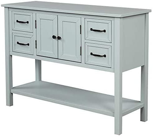 Goujxcy 43″ Console Table,Sofa Cupboard Table with 4 Drawers,1 Cabinets and Shelf,Storage Organizer Kitchen and Dining Room Furniture (Light Blue)