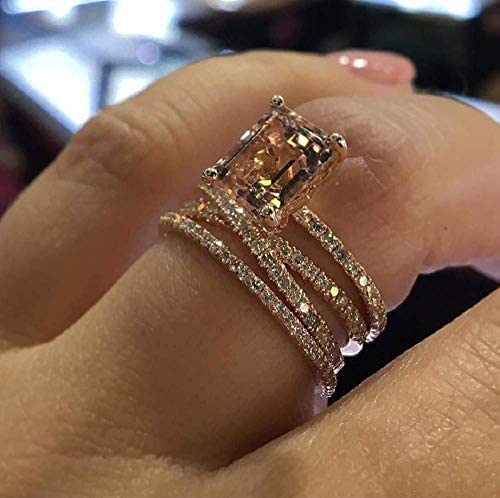 MAIHAO Sparkling Women Fashion 18K Rose Gold Filled Morganite Ring Engagement Bridal Women Jewelry Rings Size 6-10 (US code 7)