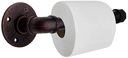 GoYonder Industrial Pipe Decor Toilet Paper Holder Set, Wall Mounted Toilet Roller Paper Holder (Mounting Hardware Included) (Bronze Finish)