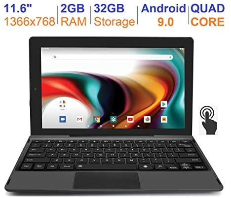 RCA 11 Delta Pro 11.6 Inch Quad-Core 2GB RAM 32GB Storage IPS 1366 x 768 Touchscreen WiFi Bluetooth with Detachable Keyboard Android 9.0 Tablet (11.6″, Charcoal) (Renewed)