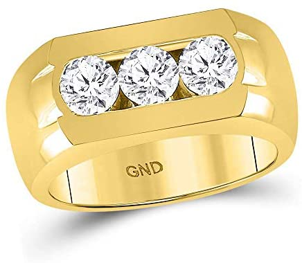 Dazzlingrock Collection 14kt Yellow Gold Mens Round Diamond 3-Stone Wedding Band Ring 1-3/8 ctw