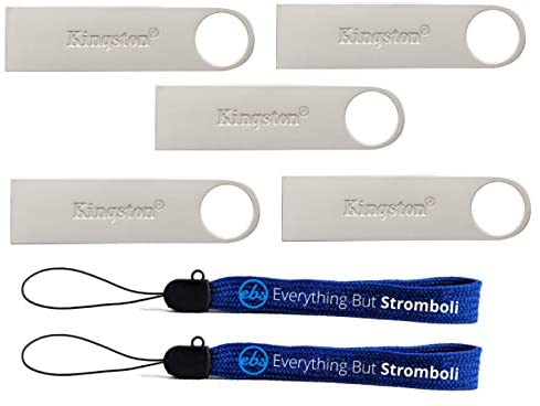 Kingston (TM) Digital 32GB DTSE9 G2 Data Traveler 5 Pack 3.0 USB High Speed Flash Drive with (2) Everything But Stromboli (TM) Lanyards