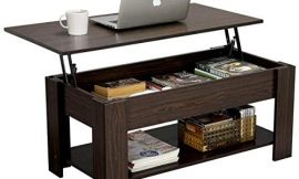 YAHEETECH Modern Lift Top Coffee Table with Hidden Compartment and Storage Shelf – Lift Tabletop for Living Room Reception Room