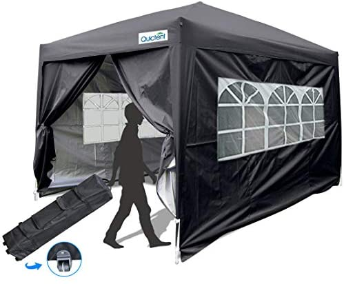 Quictent Silvox 10×10 EZ Pop Up Canopy Party Tent Instant Gazebo Waterproof with 4 Sides & Roller Bag -8 Colors (Black)