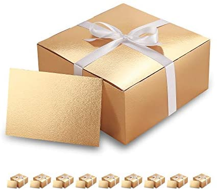 PACKHOME 10 Gold Gift Boxes 8x8x4 Inches, Bridesmaid Boxes, Paper Gift Boxes with Lids for Gifts, Crafting, Cupcake Boxes, with Greeting Cards and Satin Ribbons Glossy with Embossing