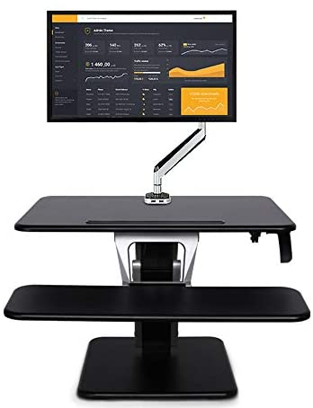 DEPRQ Monitor Stand Standing Office Lift Computer Desk Notebook Monitor Stand Mobile Lift Folding Sitting Desk Organizer Shelf (Color : Black, Size : One Size)