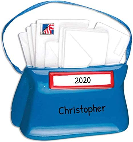 Personalized Mail Carrier Bags Christmas Tree Ornament 2020 – Blue Uniform Postman Letter Holiday Postal Service Parcel Office Coworker Profession New Job Online Shop USPS Year – Free Customization