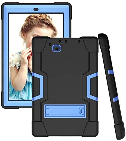 Koolbei for RCA 10 Viking Pro 10.1″(RCt6a03w13)/Atlas Pro 10.1 Case Hybrid Shockproof Rugged Anti-Impact Drop Protection Cover Built with Kickstand(Black/Blue)